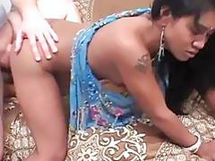 Indian bb gets bent over on a bed and nailed doggy